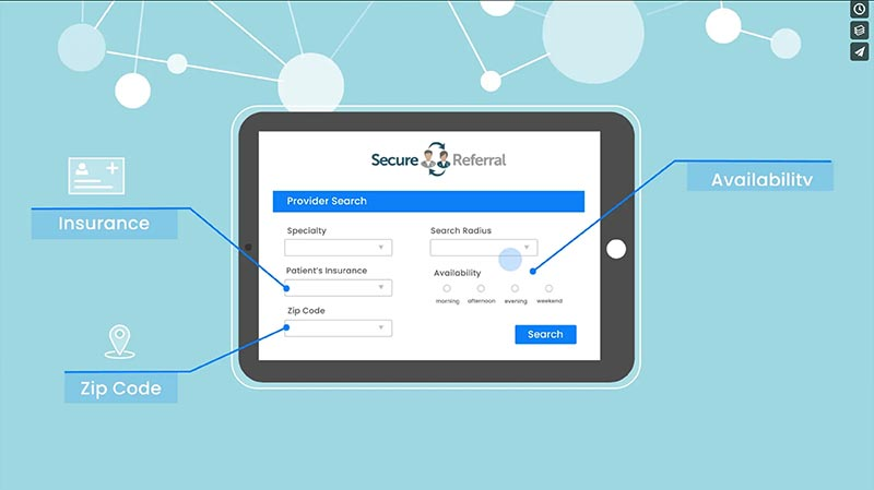 screenshot from a video explaining Secure Referral app